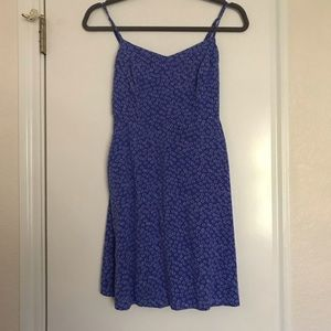 Blue/White floral dress with pockets (S)